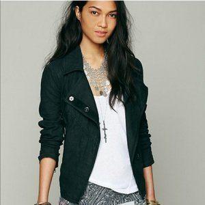 Free People Black Linen/Cotton Moto Snap Jacket L